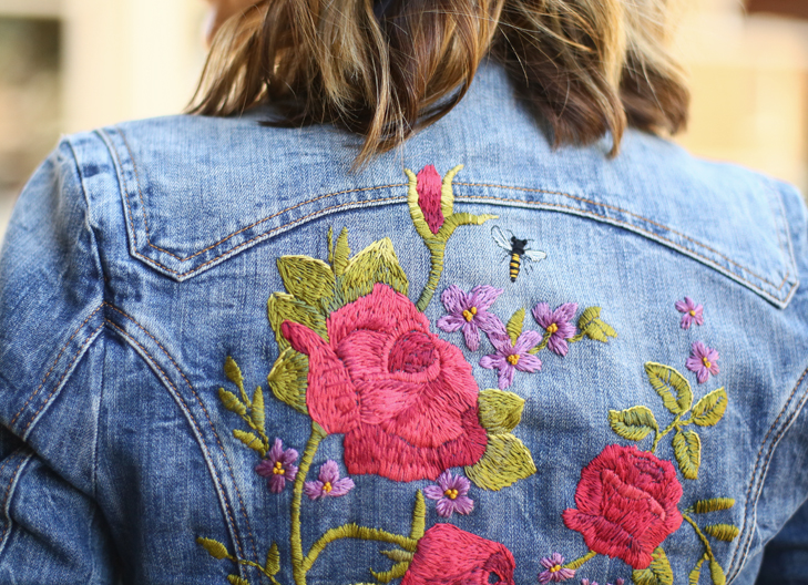Embroidered Jacket, embroidery, bee embroidery, Maternity Outfit, Pregnancy Outfit, 22 weeks pregnant, What to wear when you're pregnant