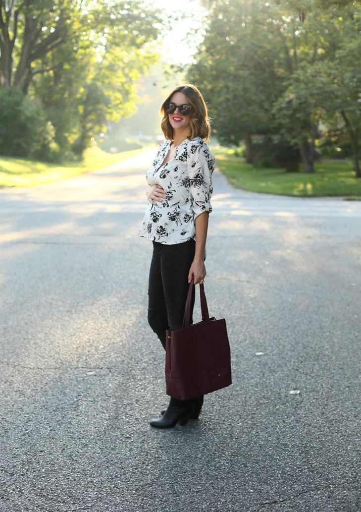 Black and White Outfit, Black Maternity Jeans, Second Trimester Outfit, Burgundy Back, J.Crew Burgundy Bag, Rag and Bone Booties