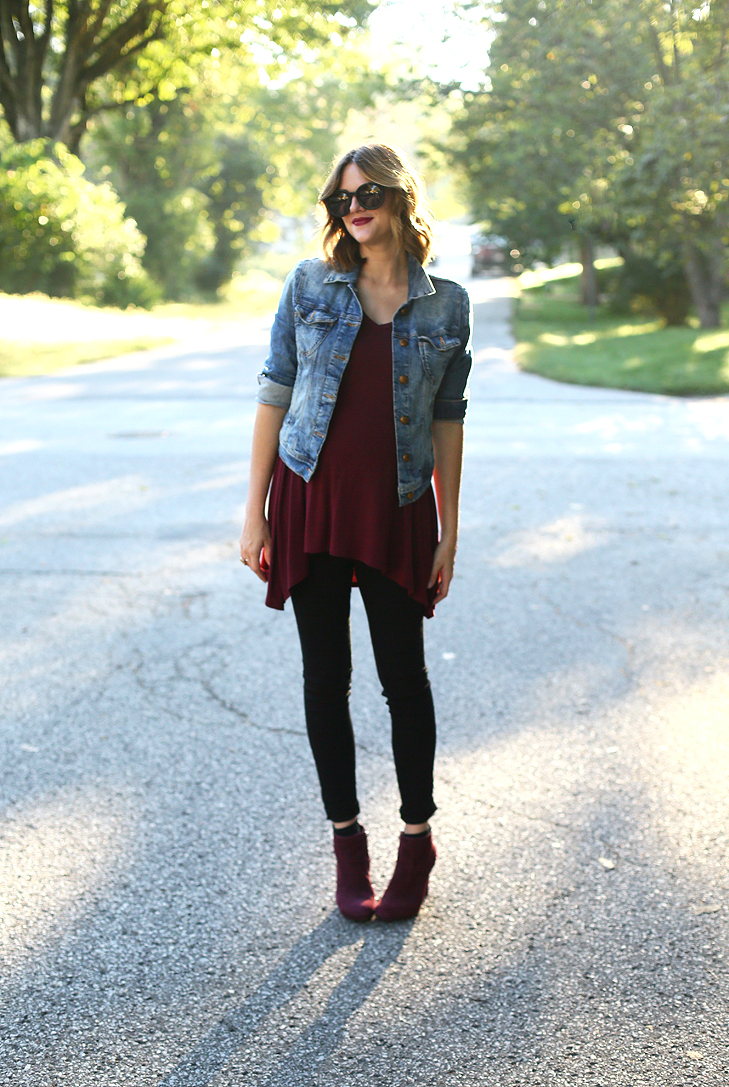Burgundy Outit, DressTheBump, Maternity, Maternity Outfit, Fall Maternity Style, 24weekspregnant, Maroon, Wine Colored Booties