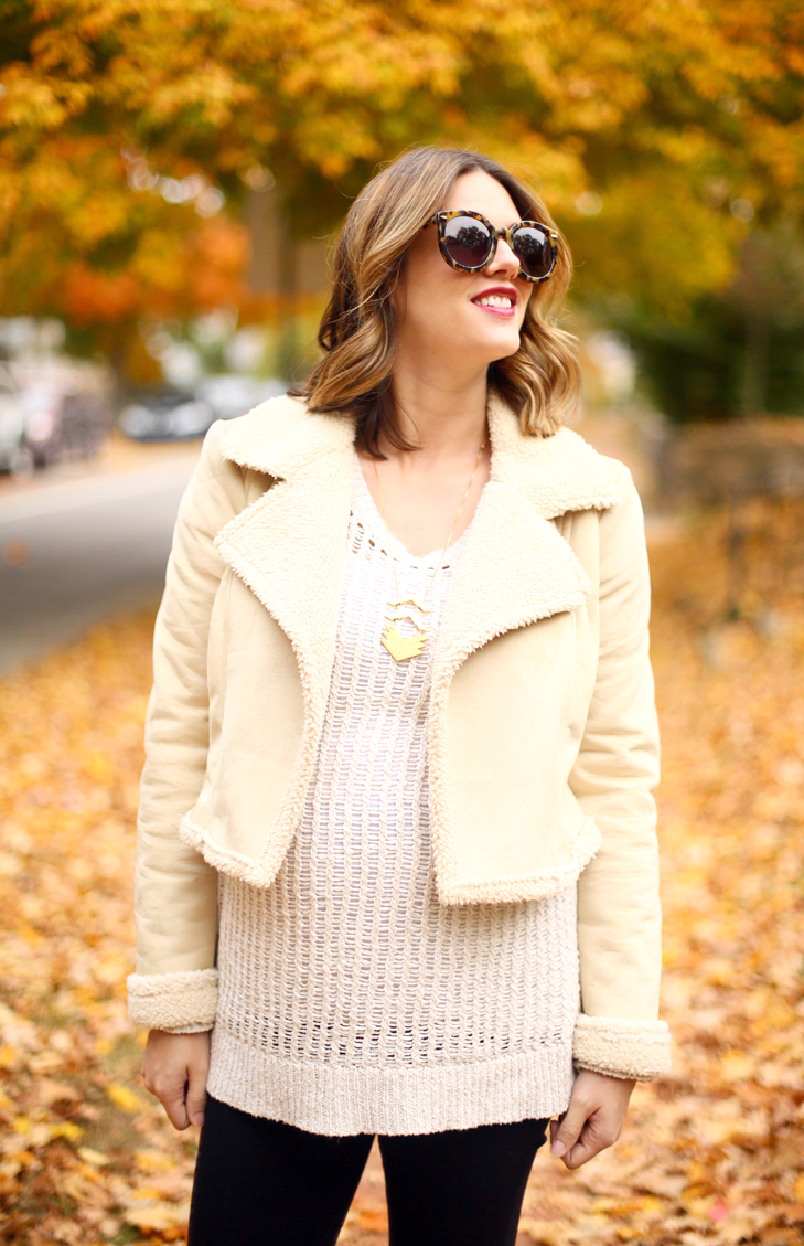 Maternity Style, Shearling Jacket, Self Made Shearling Jacket, 30 weeks pregnant, Third trimester, Fall Maternity Outift