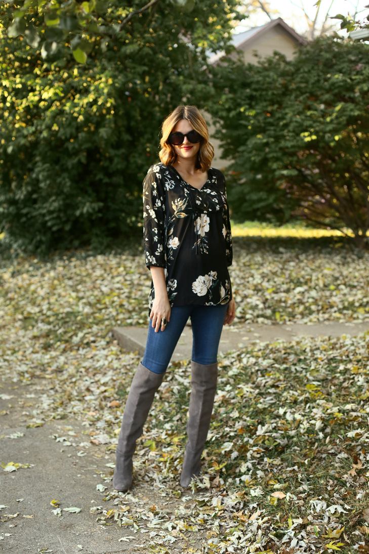Dark Floral Blouse, Over the Knee Boots, Maternity Style, Maternity Outfit, What To wear for Your Third Trimester, Fall Maternity Outfit
