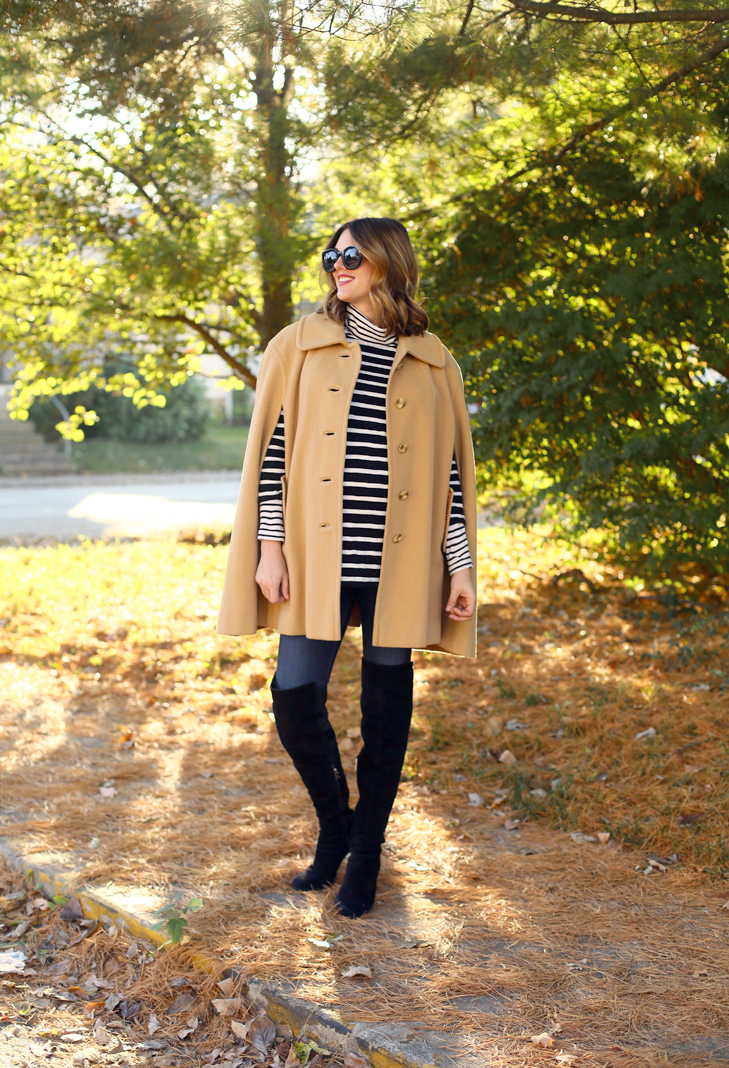 Vintage Cape, How to Style a cape, over the knee books, third trimester outfit, Fall Maternity Outfit, Chic Maternity, Layering Stripes, Stripes and Camel
