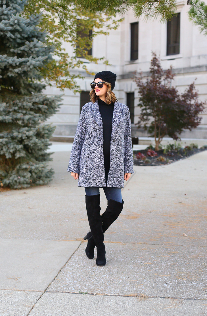 Cute Winter Outfit, Over the Knee Boots, Black and Gray outfit, What to wear with Over the Knee Boots, 32 weeks pregnant, Maternity Style, Dress the Bump