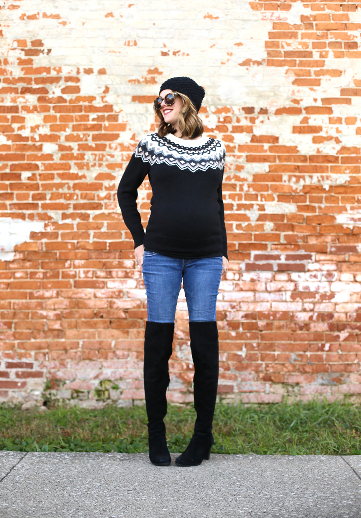 Fair Isle, Fair Isle Outfit, What I Wore, OOTD, Winter Maternity Outfit, Fall Maternity Style, Dress the Bump