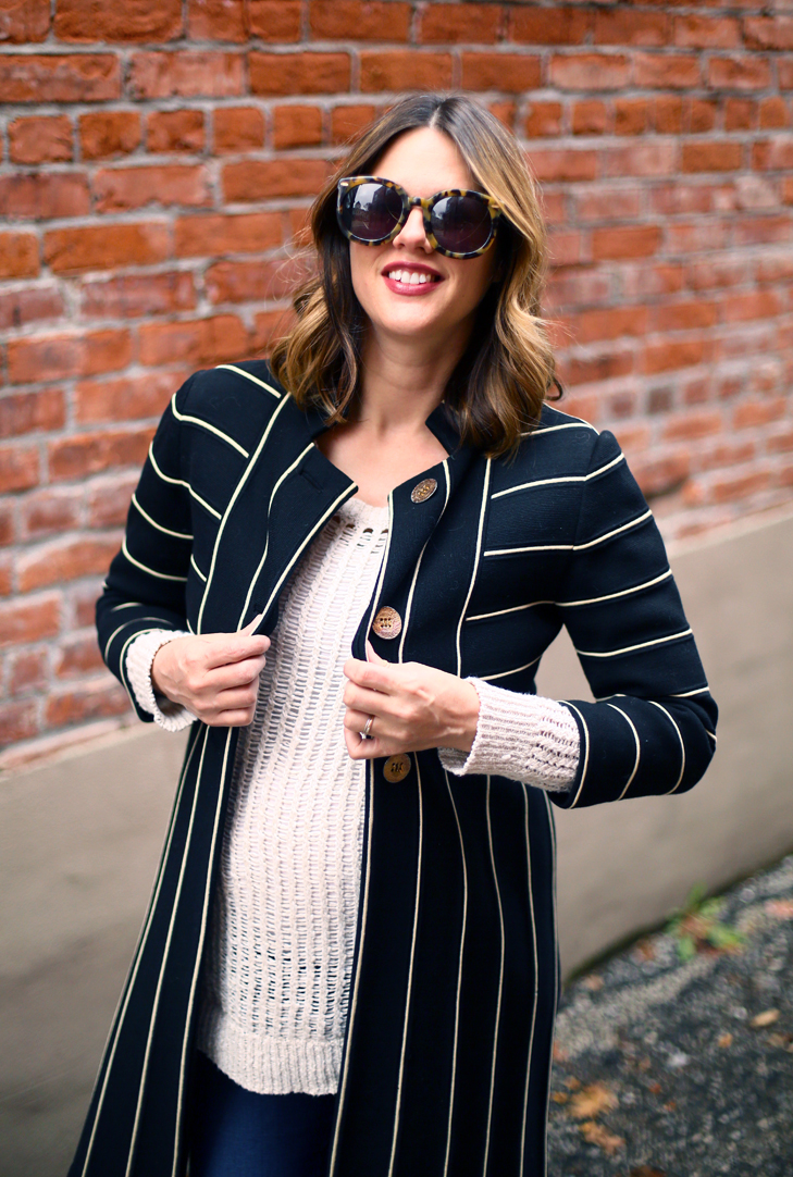 Vintage Long Jacket, Maternity Style, Third Trimester Style, 34 weeks pregnant, Cute Fall Maternity, Fall Maternity Outfit