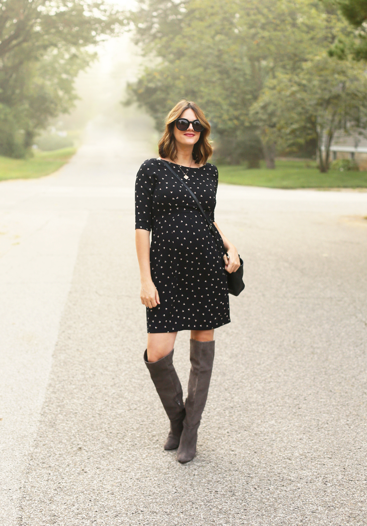 Maternity Style, Fall Maternity Outfit, Slimming Maternity Dress, Flattering Maternity Dress, Over the Knee Boots, Pregnancy, Dress the Bump, Stylish Bump