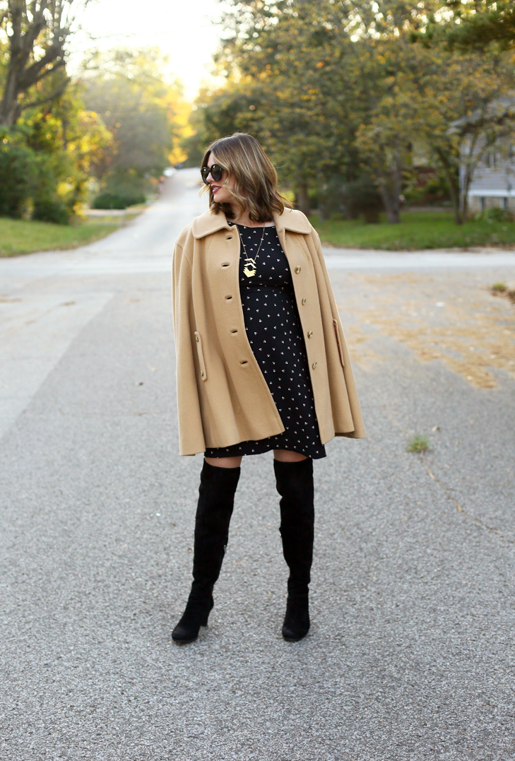 Over the Knee Boots, How to Style a Cape, Third Trimester, Pregnancy Outfit, Dress the Bump, Stylish Bump, What to wear when you're pregnant, Trendy Maternity Outfit