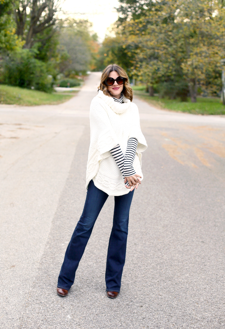 Poncho, Stripes, Flare Leg, What to Wear in Your Third Trimester, Pregnancy Style, Maternity Style, Maternity Outfit, Pregnancy Outfit, 29 weeks pregnant