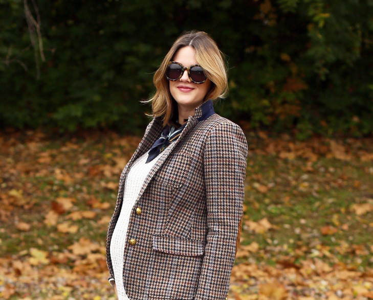 Houndstooth Blazer, Rhodes Blazer, How to style a houndstooth blazer, mom style, Dress the Bump, Maternity Outfit, 29 weeks pregnant
