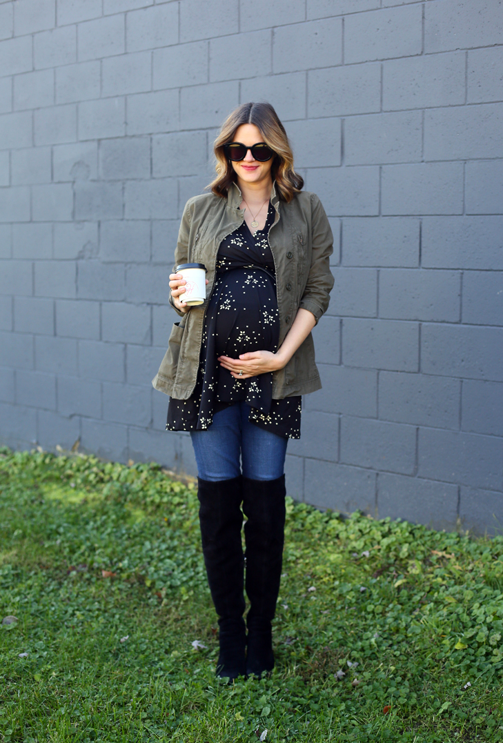 Maternity Hack, Dress as a top, Third Trimester Style, Maternity Style, Dress the Bump, 35 weeks pregnant