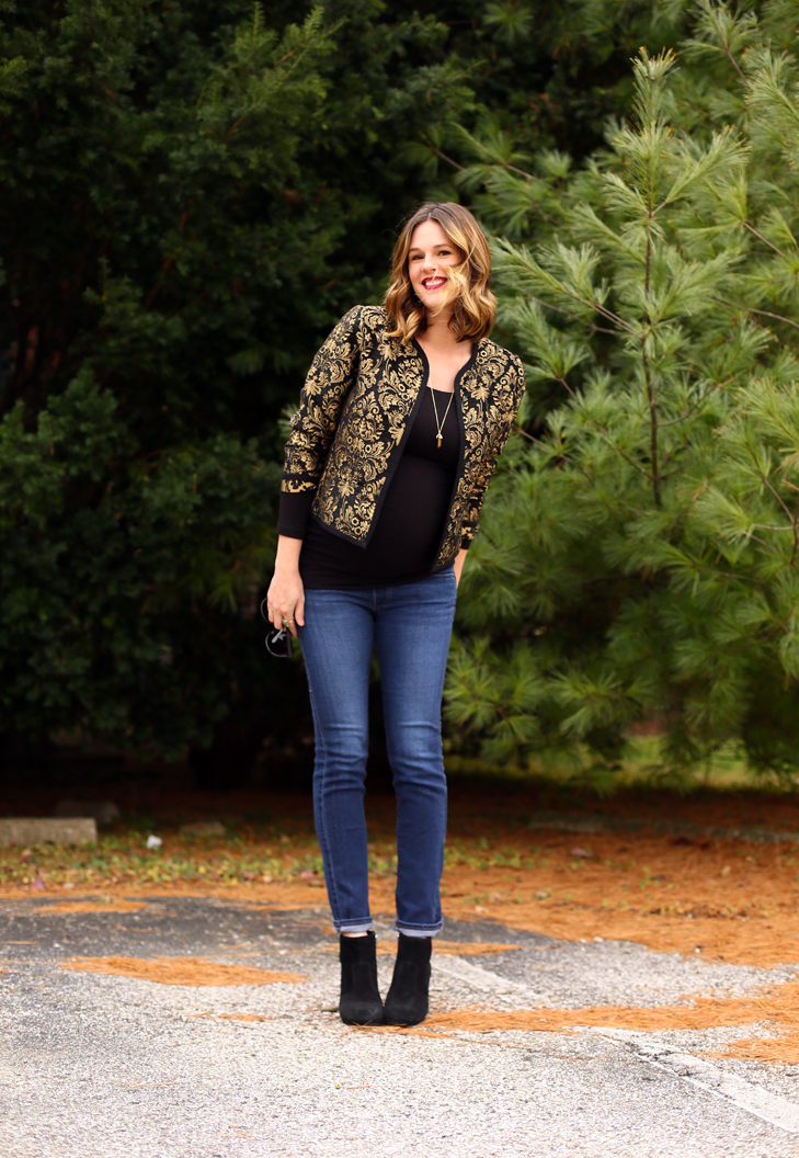Holiday Dressy with Old Navy, Eight Months Pregnant, Maternity Holiday Outfit Idea, Maternity Outfit