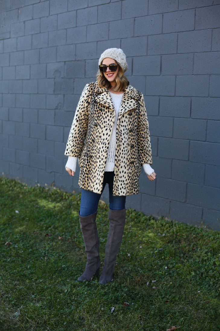 Eight Months Pregnant, Maternity Outfit, Dress the Bump, Winter maternity, Cute Winter Outfit, Leopard Coat, vintage leopard Coat, Cheetah