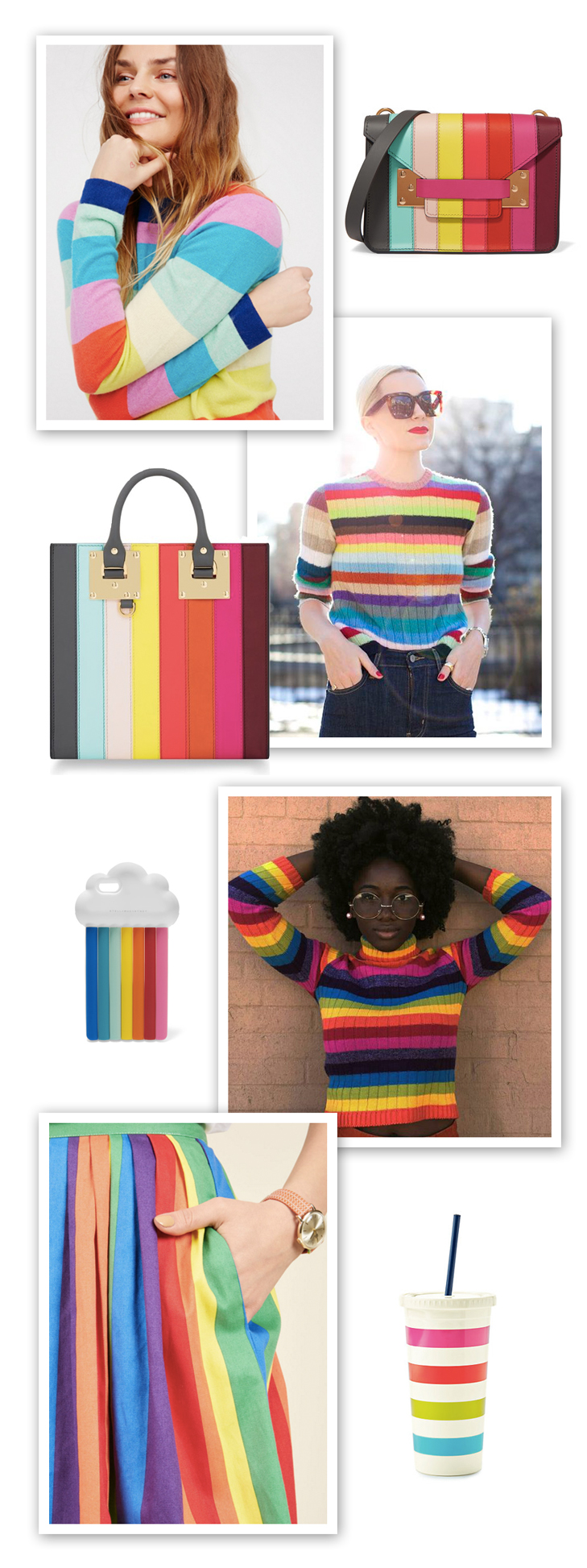 Rainbow, rainbow sweater, shop the trend, Spring 2017 trends, inspiration board