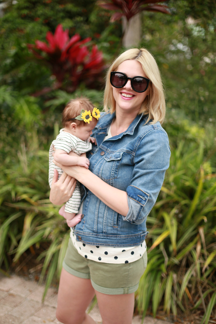 stay at home mom outfit, casual outfit, modest spring break, polka dot tee