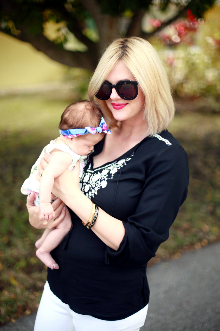Post partum outfit, nursing friendly top, Black and White embroidery, beachy black and white