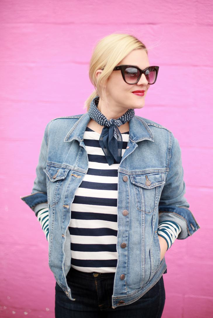 Spring Stripes, How to style a bandana, How to Wear a banada, Denim on Denim, Stripes