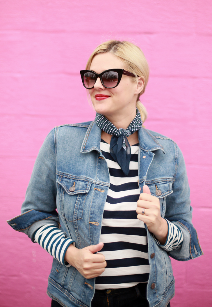 Spring Stripes, How to style a bandana, How to Wear a banada, Denim on Denim, Stripes