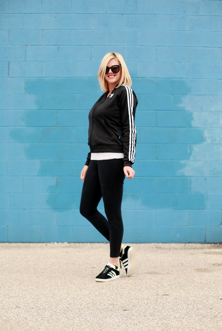 Adidas outfit, Track Jacket, Adidas Gazelle, SAHM outfit