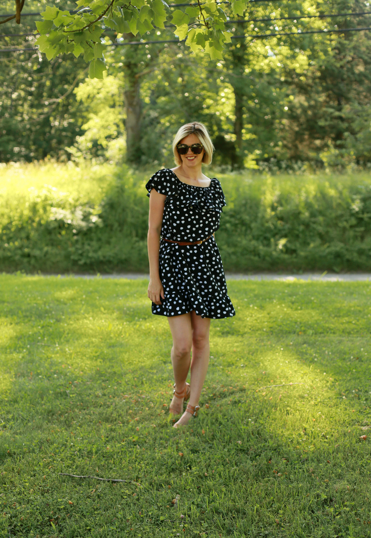 polka dot summer dress, SAHM outfit, Jessica Quirk, What I Wore Blog