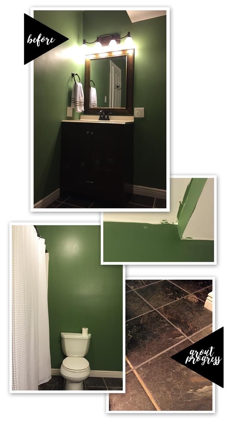 Bathroom Before, Painted Grout, Farmhouse Bathroom Idea