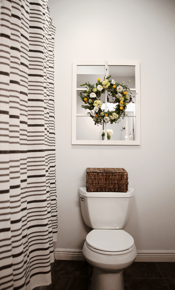 Bathroom After, Bathroom Wreath, Windowless Bathroom Farmhouse Bathroom Idea
