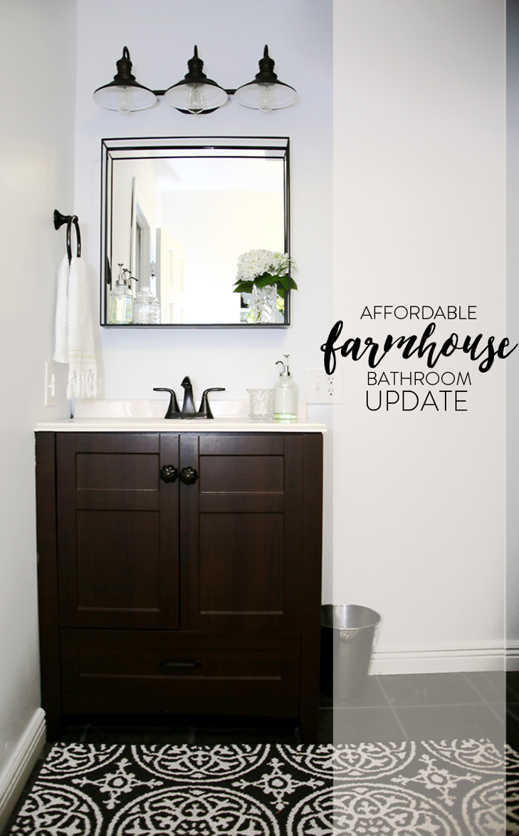 Farmhouse Bathroom, Windowless Bathroom, Simple Bathroom Update, Farm Style Update, Inexpensive Bathroom Decor