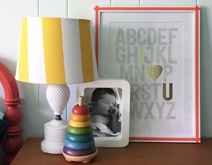 Colorful Kids Room, Rainbow Kids Room, Boys Room, Colorful Room, Dark Blue Kids Room, Vintage Kids Room, MidCentury Kids, Yellow Desk Chair, ABC print'