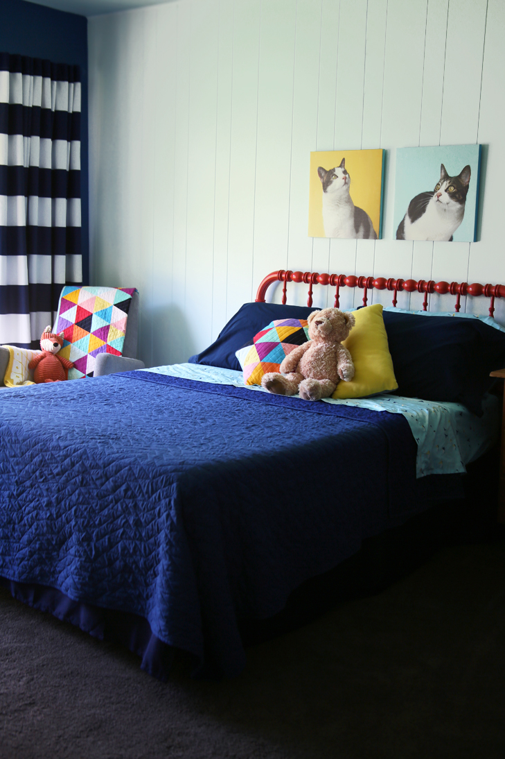 Colorful Kids Room, Rainbow Kids Room, Boys Room, Colorful Room, Dark Blue Kids Room, Coral Jenny Lind Bed, Painted Jenny Lind, Pillowfort Bedding, Target Bedding