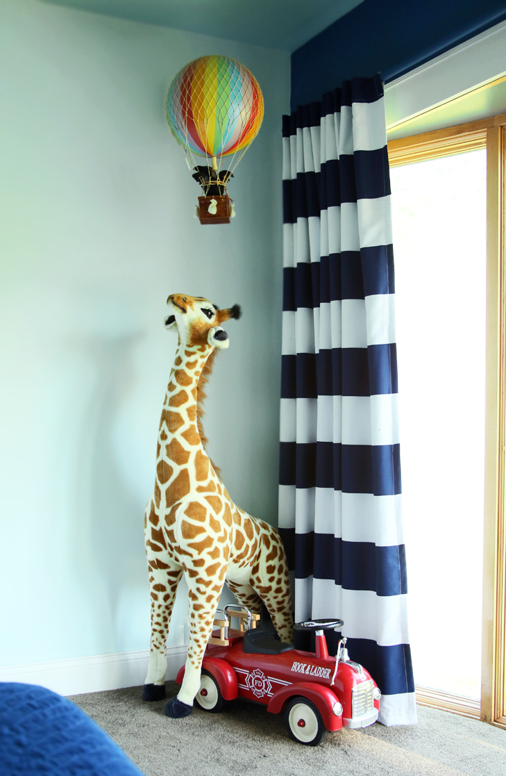 Colorful Kids Room, Rainbow Kids Room, Boys Room, Colorful Room, Dark Blue Kids Room, Navy and White Striped Curtains, Kids Fire Engine, Plush Giraffe Toy, Balloon Mobile