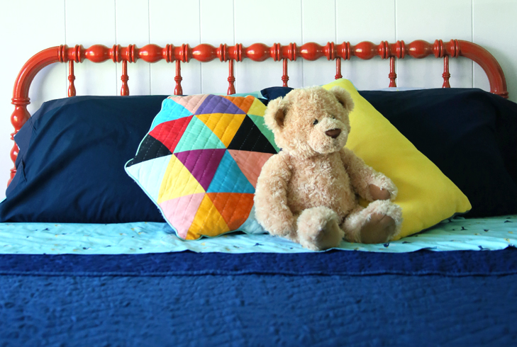 Colorful Kids Room, Rainbow Kids Room, Boys Room, Colorful Room, Dark Blue Kids Room, Coral Jenny Lind Bed, Painted Jenny Lind, Pillowfort Bedding, Target Bedding, Valspar 'Lovely Love Song'