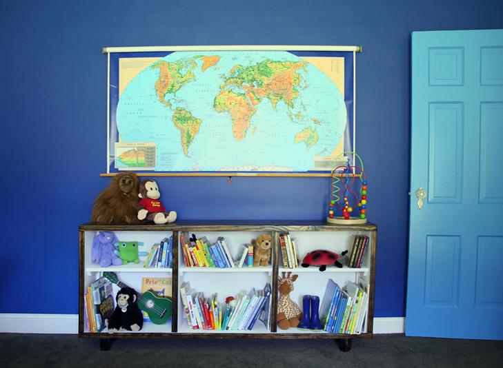 Colorful Kids Room, Rainbow Kids Room, Boys Room, Colorful Room, Dark Blue Kids Room, Coral Jenny Lind Bed, Painted Jenny Lind, Pillowfort Bedding, Target Bedding, Valspar 'Lovely Love Song'