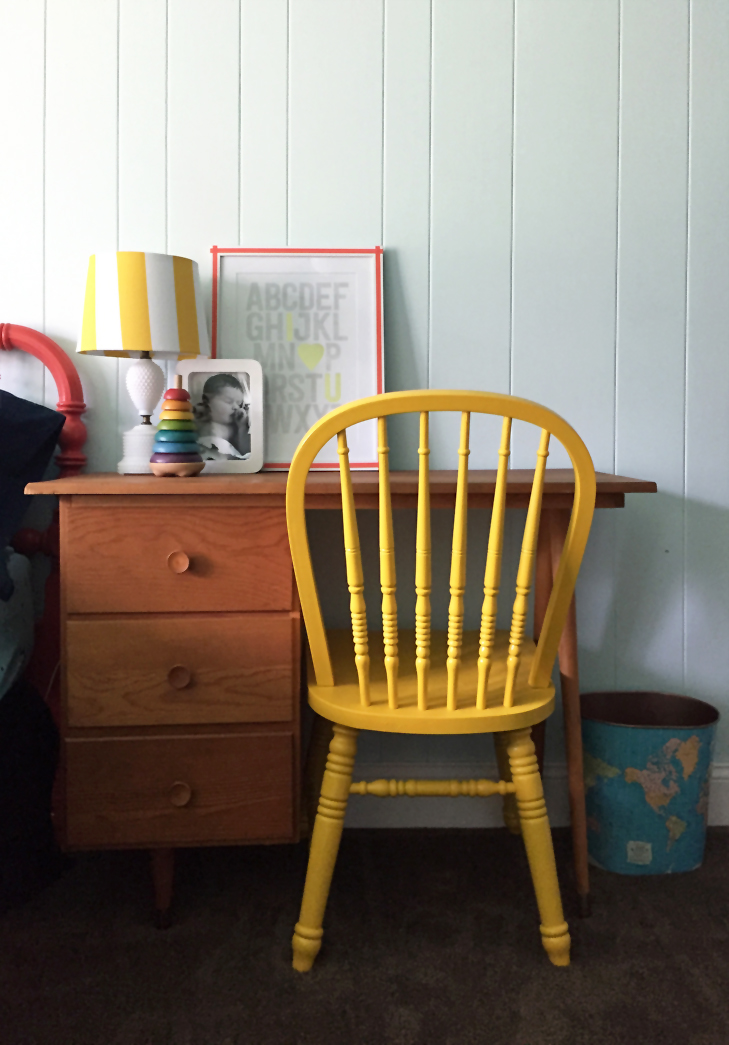 Colorful Kids Room, Rainbow Kids Room, Boys Room, Colorful Room, Dark Blue Kids Room, Vintage Kids Room, MidCentury Kids, Yellow Desk Chair, ABC print'