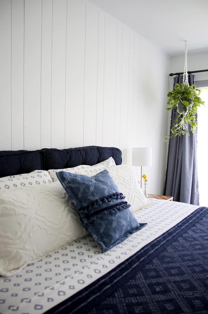 Navy and White Bedroom, Navy Master Bedroom, Wedding Veil White, Target Bedding, Simple Master Bedroom