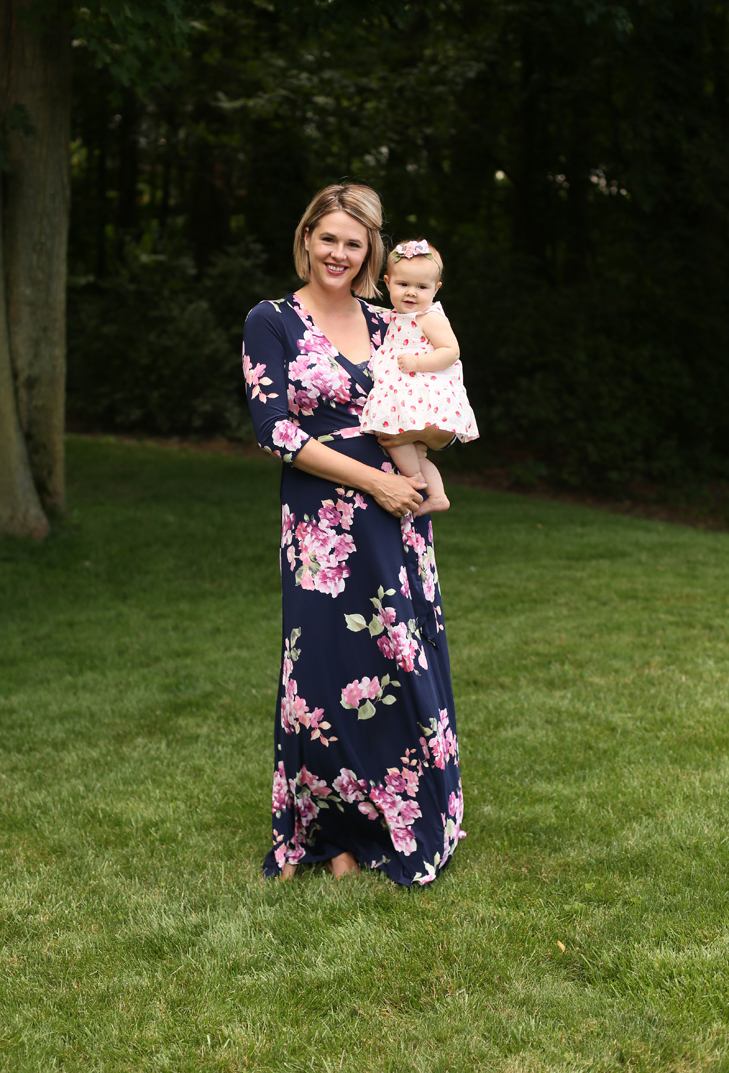 Bon Rosy Dress Maxi Dress, Dark Floral Maxi Dress, Nursing friendly, what to wear to a wedding while nursing