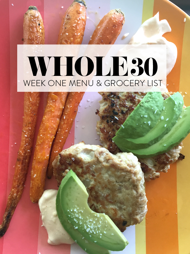 Whole 30 Grocery list, Whole 30 Meal Plan