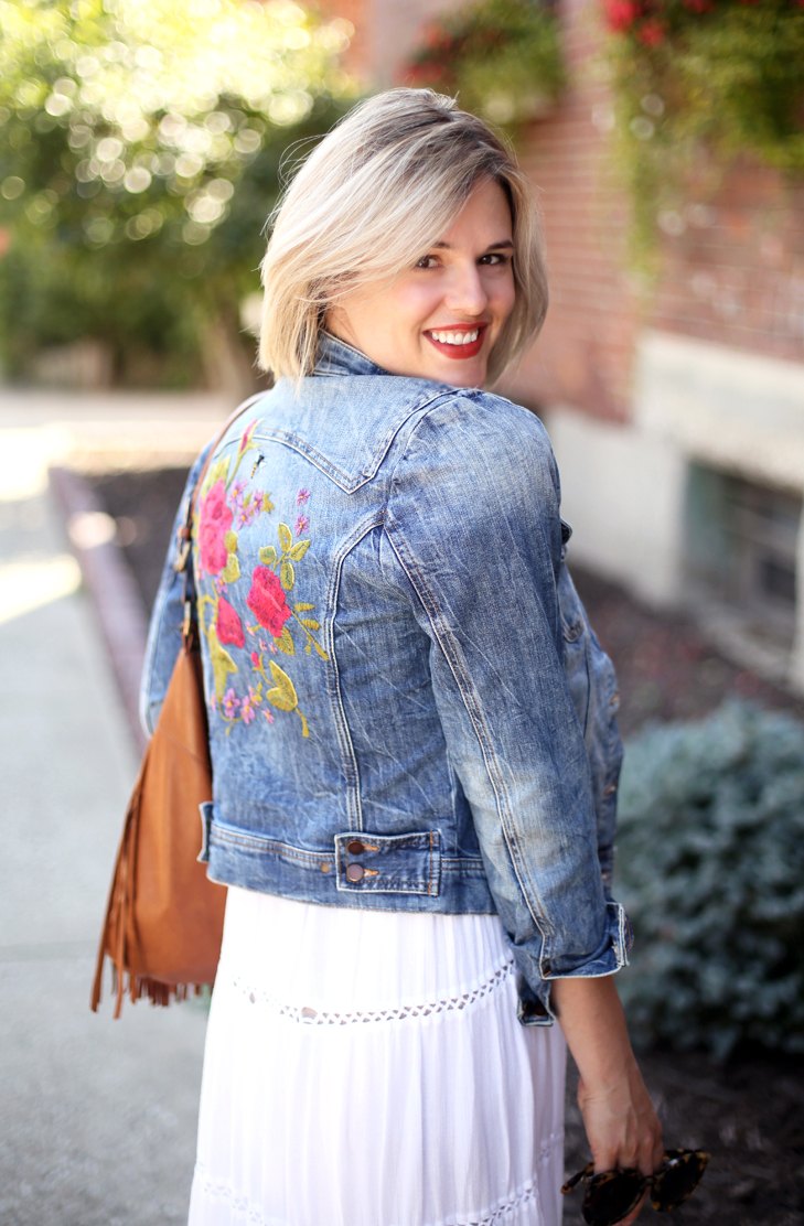 How to Style an Embroidered Jean Jacket, Embroidered Denim