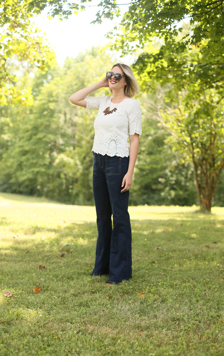 McCalls M7547, M7547, High Rise Flares, How to Style High Rise Jeans, Jessica Quirk, MAC chili