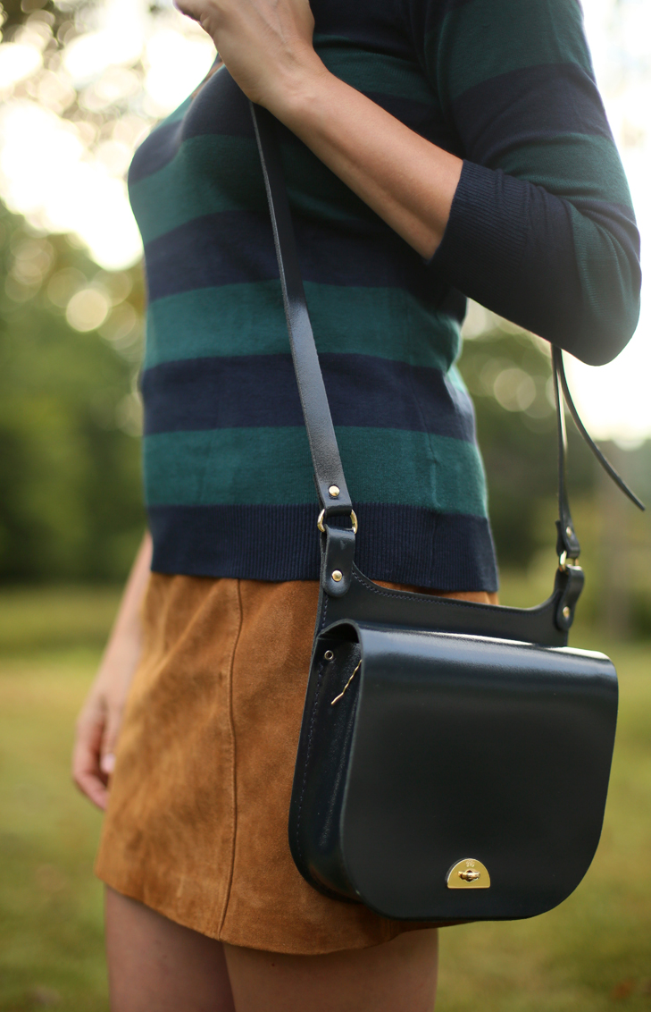 Conductors Bag, Mini Skirt, Cambridge Satchel Company, Striped Sweater, Charter School Pullover, Jessica Quirk, What I Wore
