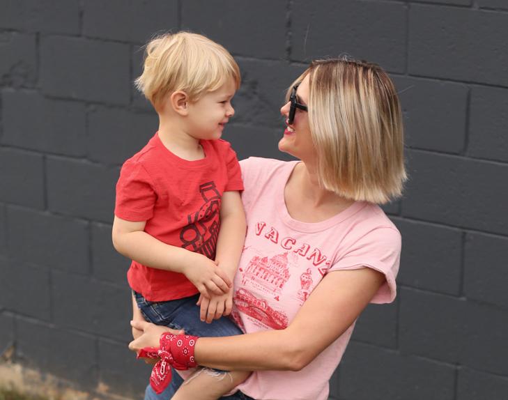 Souvenir Tee, How to Wear a Bandana, pink tee shirt, Red Lipstick, SAHM outfit