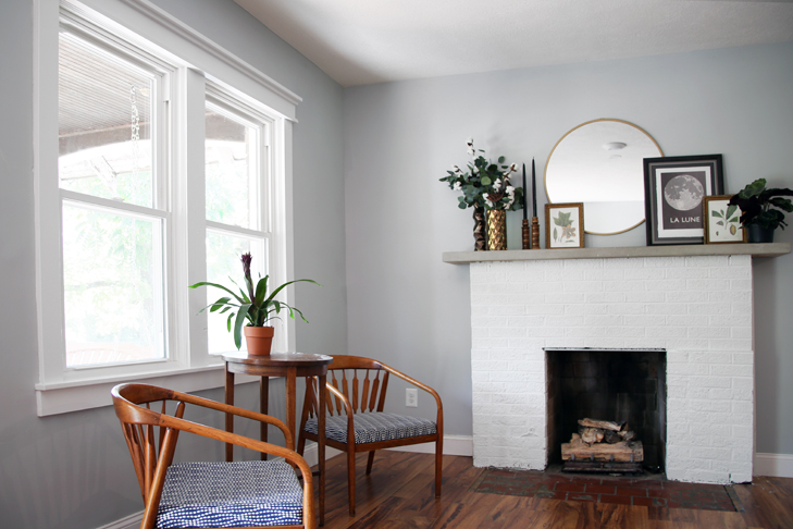 mini makeover, painted fireplace, farmhouse windows, cool gray by valspar