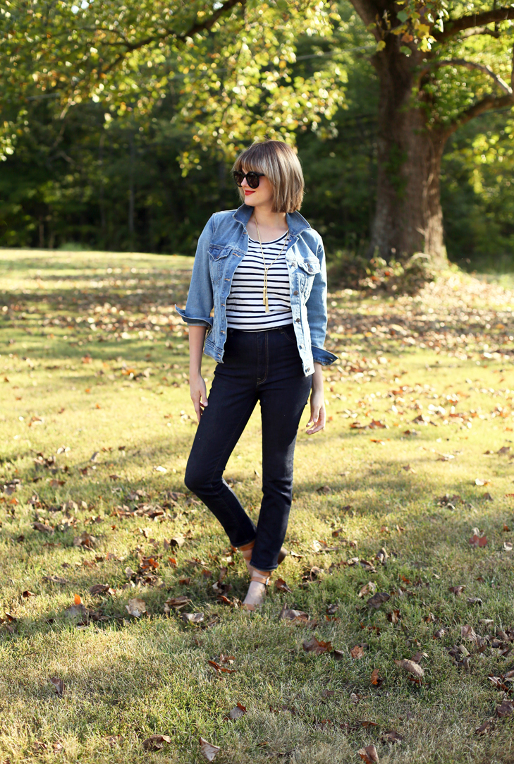 Bangs with Bob, Dark Blonde, Modern Bob, Cute Bangs, Stripes, imogene + willie jeans