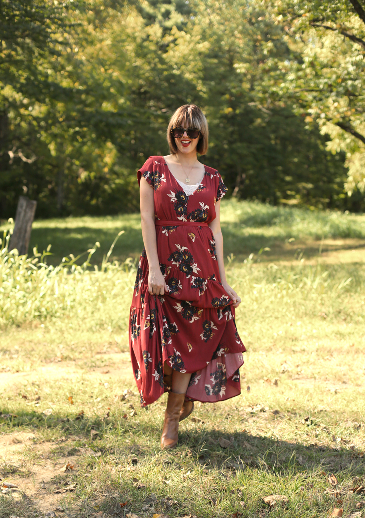 Free People Dress, Red Maxi Dress, Bob with Bangs, Jessica Quirk