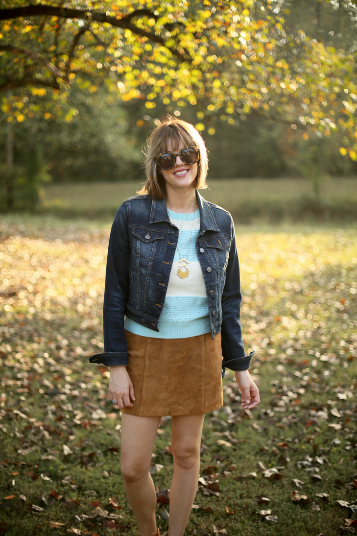 How to wear a mini skirt, ModCloth Sweater, Jean Jacket, Bob with Bangs, Early Fall Outfit Idea