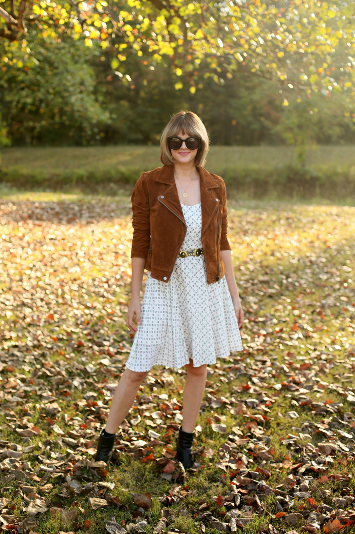 Bob with Bangs, BlankNYC jacket, transitional outfit, Fall outfit idea, sundress for fall