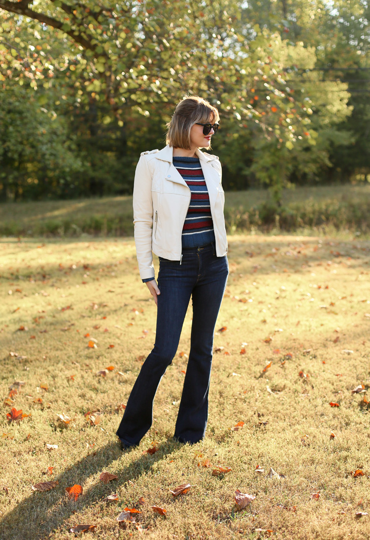 Knitting, 70s style sweater, moto jacket, bob with bangs