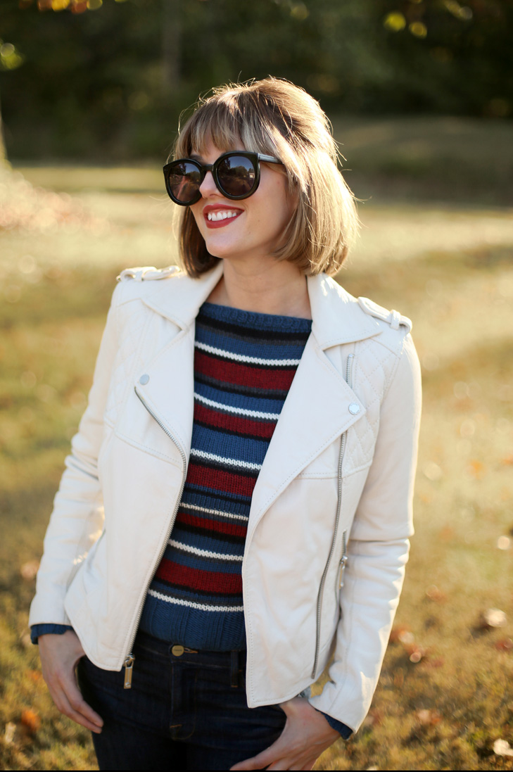 Knitting, 70s style sweater, moto jacket, bob with bangs