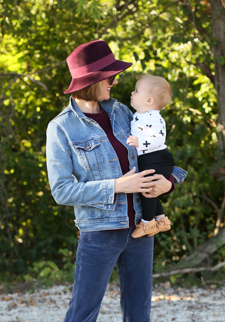Maroon Hat, Millinery, SAHM, Jessica Quirk, Non Girly Baby Outfit