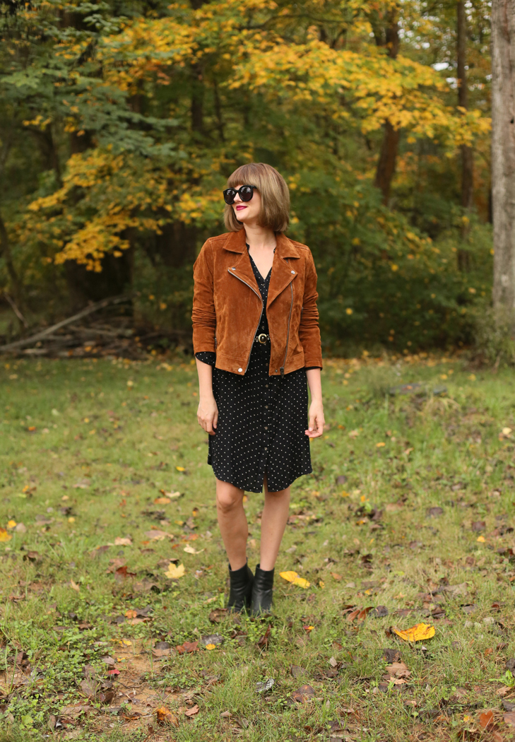 Bob with Bangs, BlankNYC jacket, Suede Jacket, Fall Outfit Idea, Hairstyles