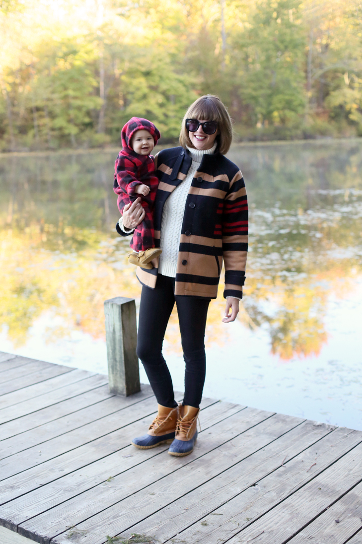 Camping Outfit, Mom and Me Camping, Pendleton Coat, Baby Mocs, Bangs and Bob