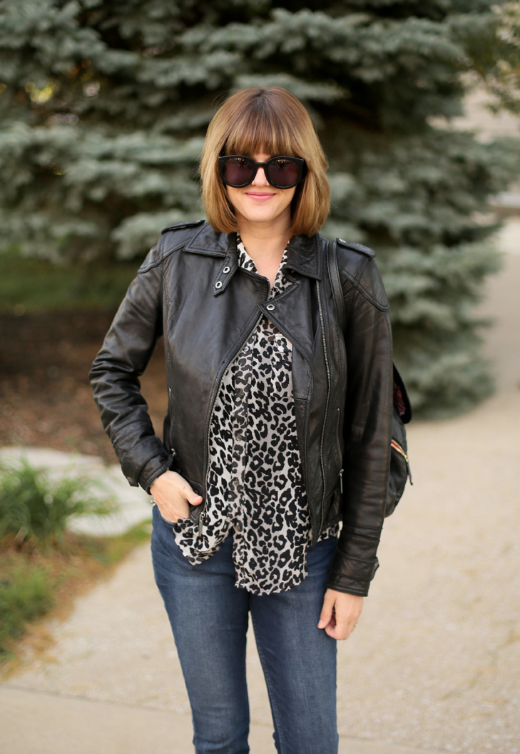 leopard, leather, Easy Outfit Idea